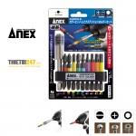 Bộ mũi bắn vít và thanh nối dài vít từ tính 10 cái No.ACMH9-E Anex Nhật