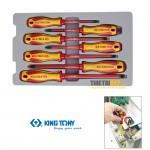 Bộ tua vít cách điện 1000V VDE Kingtony 30617MR đầu dẹp và bake 7 cái